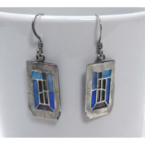 "Carly Wright Modernist Dangle Earrings ""TARDIS"""
